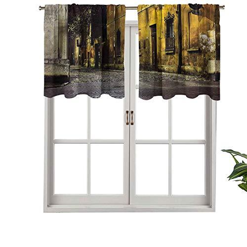 Hiiiman - Cortinas opacas con bolsillo para barra oscuras de la ciudad vieja avenidas, juego de 1, 127 x 45 cm para decoración del hogar
