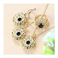 女性ジュエリーセット女性のための結婚式のディナージュエリーギフトのためのネックレスとリングの3つの部分セット WOYAOFA (Color : Black 3PCS, Size : 8)