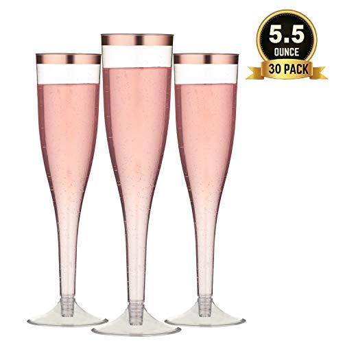 TOROTON 30 Stück Plastik Sektgläser mit Goldrand, 160ml Wiederverwendbar & Recyclebar Champagnergläser für Partys, Hochzeiten, Neujahrsfeiern - Rose Gold