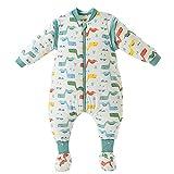 Happy Cherry Bebé Unisex - Saco de dormir para bebé (algodón, suave, cálido, mango extraíble), diseño de pijamas Tyrannosaure À Pieds 2-3 Años