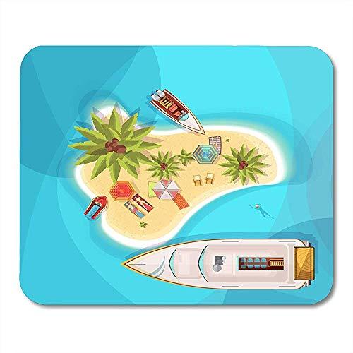 Exotisches Aqua Island Beach Top View mit blaues Seeleute auf Ruheliegen unter Sonnenschirmen Boots-Palmen Fahren stilvolles perfektes rutschfestes Spiel Mousepads 18X22CM Rad