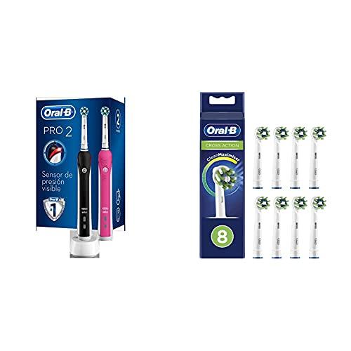 Oral-B 2950N PRO 2 - Pack De 2 Cepillos De Dientes Eléctricos + Oral-B CrossAction Cabezales de Recambio Tamaño Buzón, Pack de 8 Recambios con Tecnología CleanMaximiser