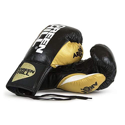 GREEN HILL Guantes DE Boxeo Profesional DE Combate Ares Cordones (Negro/Dorado, 8...