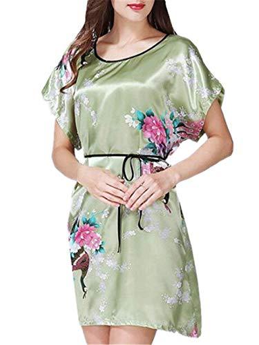 Vestido De Noche Pijamas De Mujer Kimono Cuello Vintage Redondo Estilo Sueño Chino Vestido Elegante Bata Cómoda Noche Cálida Camiseta De Manga Corta Camisón Noche Cálido SH