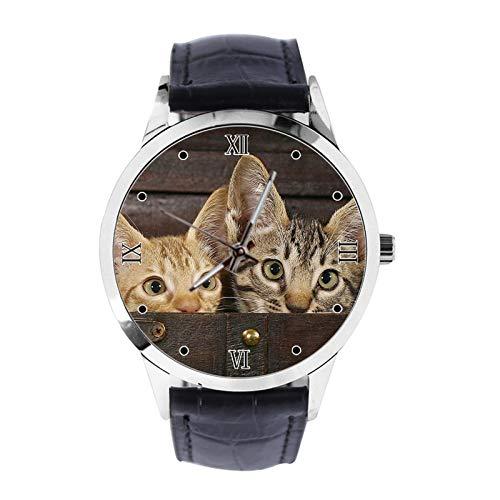 Reloj de Pulsera Unisex analógico de Cuarzo con Correa de Piel, diseño de Gatos escondidos en una Maleta