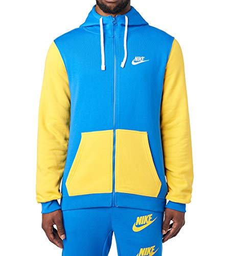 NIKE Men's Sportswear Archive Full-Zip Hoodie, Signal Blue/Amarillo/Sail, X-Large