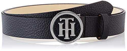 Tommy Hilfiger Damen TH Round Buckle Belt 3.0 Gürtel, Schwarz (Black 002), 85
