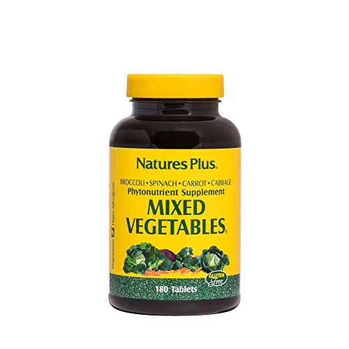 NaturesPlus Mixed Vegetables - 1300 mg, 180 Vegetarian Tablets - Powerful Whole Foods Phytonutrient Supplement, Promotes Overall Health - Gluten-Free - 60 Servings
