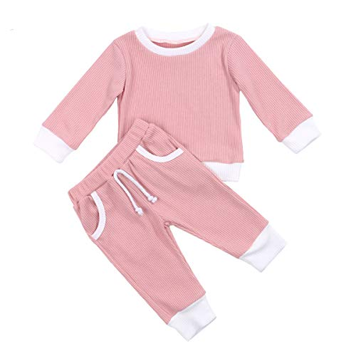 Conjunto de 2 pijamas unisex para bebé, de manga larga, camiseta + pantalones acanalados, monocolor, para otoño e invierno Rosa. 12-18 Meses