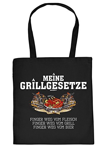 Griller Tasche Grillzubehör Tragetasche Grill : Meine Grillgesetze Finger… - Sprüche Baumwolltasche Grillen -Farbe: schwarz