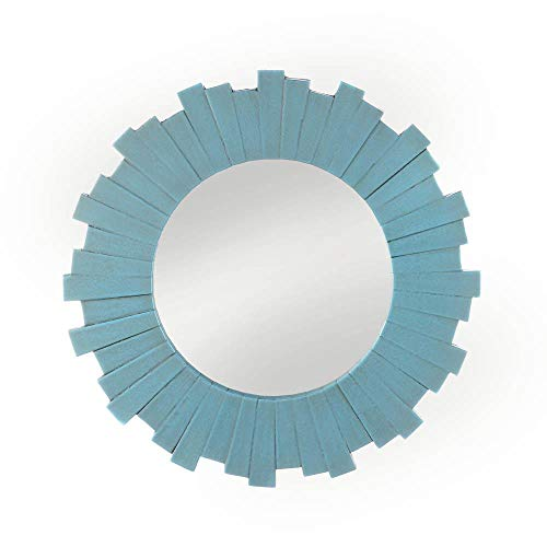 Blue Sunburst Wall Mirror Decorative Starburst Beautiful Large Bathroom, Living Room, Kitchen Decoration Accent Decor Modern Elegant