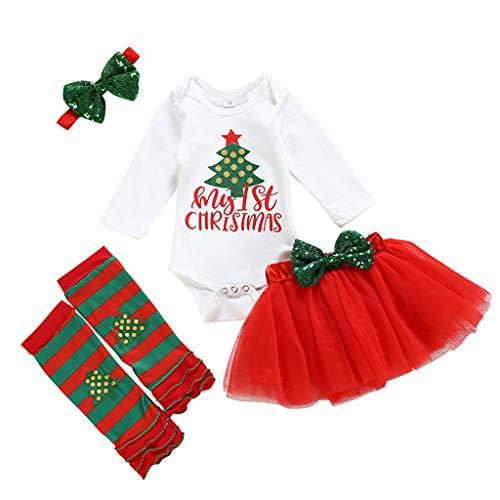 Baby Meisjes Mijn Eerste Kerst Outfit Kostuum Feestjurk Baby Kerstmis Tutu Rok 4 Stks Set Peuter Lange Mouw Romper Jurk Haarband Sokken Set Baby Vakantie Winter Kleding 0-24 Maanden