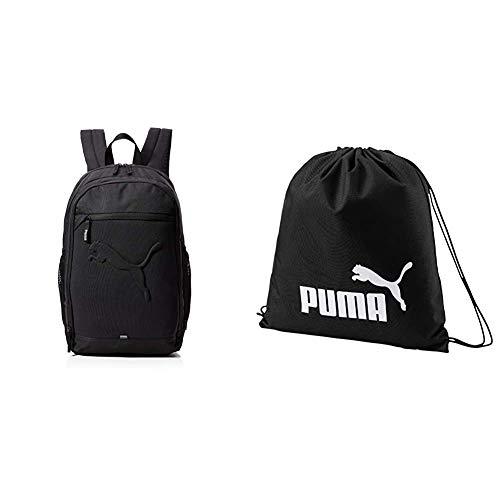 PUMA Rucksack Buzz Backpack, black, OSFA, 73581 01 & Unisex-Adult Phase Gym Sack Turnbeutel, Black, One size