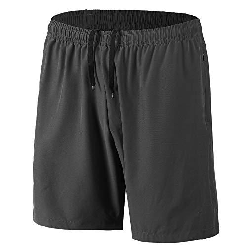 Herren Sport Shorts Schnell Trocknend Kurze Hosen mit Reißverschlusstaschen (Dunkelgrau XXL)