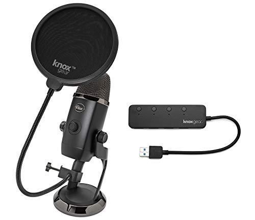 BLUE Microphones Yeti X USB Microphone Bundle with Knox Gear Pop Filter and 4-Port USB 3.0 Hub