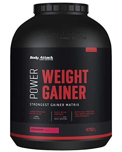 Body Attack Power Weight Gainer, Strawberry, 4,75 kg, 100{8f4ceaa165f709ba1d65fe59616a51d2e85b4c55efe538a95605e117265f5868} Masseaufbau, Kohlenhydrat-Eiweißpulver zum Muskelaufbau mit Whey-Protein, ideal für Hardgainer