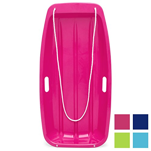 Best Choice Products 35in Kids Plastic Toboggan Snow Sled w/Pull Rope, 2 Handles, Pink