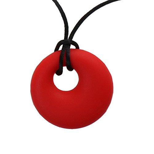 Sharplace Collares Siliconas para Niñas Lactancia Collar de Mascar para Bebé - Rojo