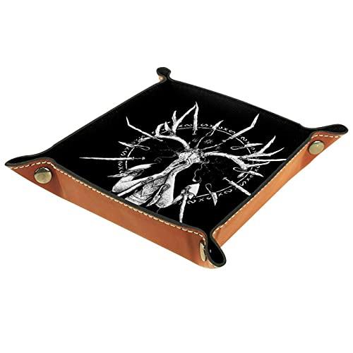 Yumansis Bandeja plegable de cuero de la PU para el reloj joyería almacenamiento caso cuerno cráneo 16x16cm