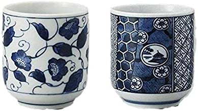 Japanese tea cup set Yunomi flowers and japanese-style popular pattern designs, 6 ounce
