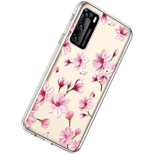 Herbests Kompatibel mit Huawei P40 Hülle Dünne Transparent TPU Schutzhülle Crystal Clear Silikon Stoßfest Hülle Durchsichtig Handyhülle mit Süße Niedlich Muster,Rosa Pfirsichblüten
