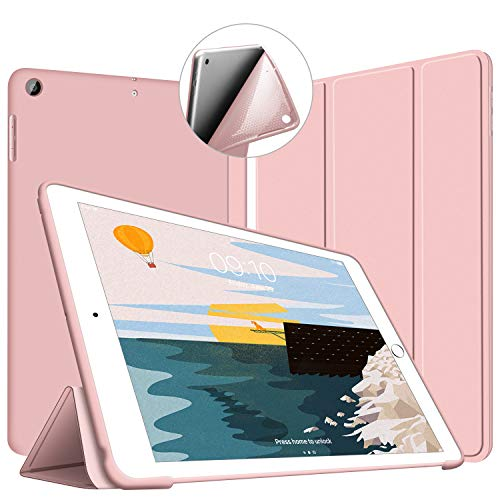 VAGHVEO Funda iPad 9.7' 2018/2017, Cubierta Estuche Plegable [ Auto-Sueño/Estela ] Carcasa TPU Suave Smart Cover para Apple iPad 5ª / 6ª Generacion (A1893/ A1954 / A1822 / A1823), Rosa