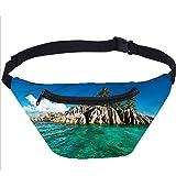 Island Fanny Pack Bolsa,Mediterráneo Sea Nature Running Travel Sports Bags