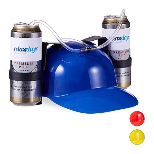 Relaxdays 10022789_45 Party Trinkhelm, Helm mit Schlauch, für 2 Dosen Bier, Spaßartikel Fasching u. Fußball, lustiger Bierhelm, blau, Unisex– Erwachsene, 13 x 32 x 28 cm
