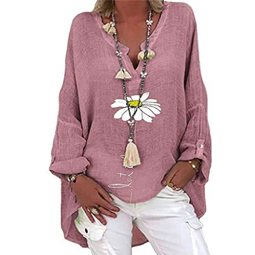 Yowablo Bluse Damen Hemden Hemdbluse Bluse Top Frauen Plus Size Lässig Langarm Blumendruck Hemd mit Lockerem V-Ausschnitt ( 5XL,2Lila )