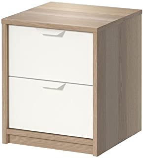 IKEA NORDLI Chest, Nightstand, White Stained Oak Effect, (2 Drawer) 202.708.16