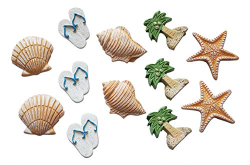 Shoreside Nautical Seashell & Island Miniature Beach Themed Arts and Crafts Stickers Starfish, Seashell, Conch Shell, Palm Tree, Flip Flop (12 Pieces)