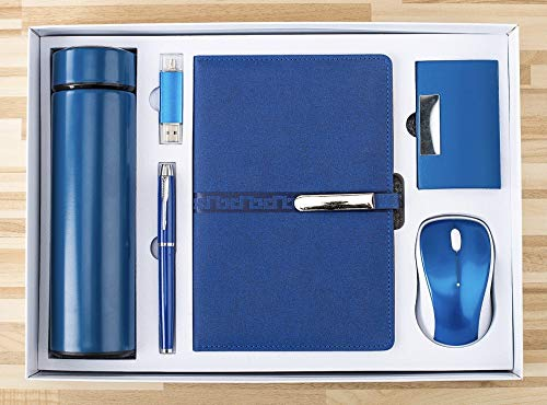 VASSO Exquisite Business Gift Set, Beautiful, Noble and Fashionable, A5 notebook, Pen and USB c flash drive, Name card holder, Wireless mouse, Vacuum Flask all in one gift box. (Blue)