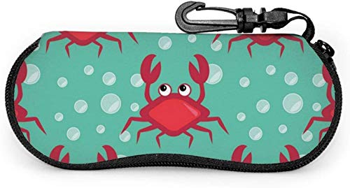 Sunglasses Soft Zip Case Eyeglass Cases with Belt Clip Crabs Pattern Ultra Light Glasses Pouch