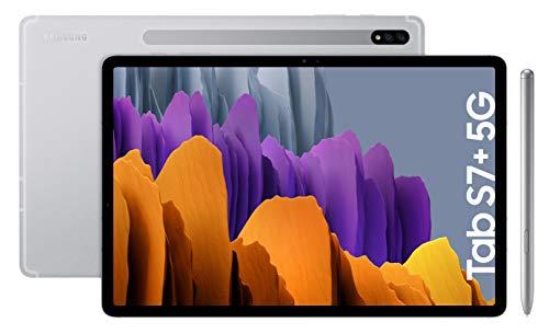 Samsung Galaxy Tab S7+ - Tablet de 12.4  QHD (5G, Procesador Qualcomm Snapdragon 865 Plus, RAM de 6GB, Almacenamiento de 128GB, Android 10, S Pen incluido) - Color Plata [Versión española]