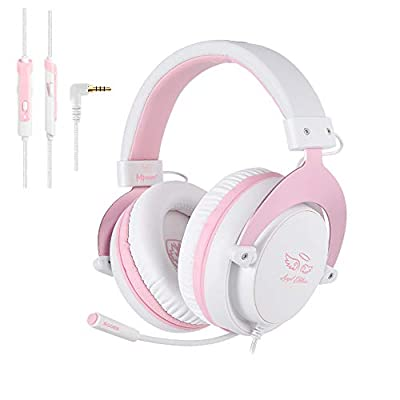 [Angel Edition] SADES MPOWER 3.5mm Gaming Headset, Over-Ear Headphones With Retractable Mic, Noise Cancelling, Soft Memory Earmuffs for PC, Smart Phones, Tablet, Laptops, Nintendo Switch, PS4 by SADES