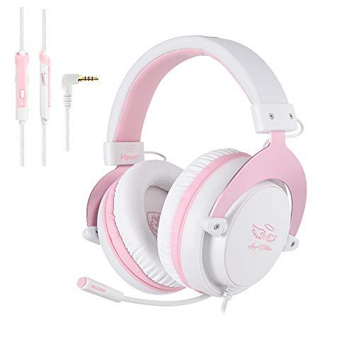 Sades MPOWER 3,5 mm Gaming-Headset, Over-Ear-Kopfhörer mit einziehbarem Mikrofon, Geräuschunterdrückung, weiche Memory-Ohrenschützer für PC, Smartphones, Tablet, Laptops, Nintendo Switch, PS4