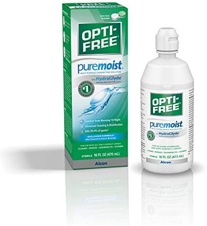 Opti-Free Puremoist Multi-Purpose Disinfecting Solution with Lens Case, (Packaging may vary), 2 Fl Oz (Pack of 1)