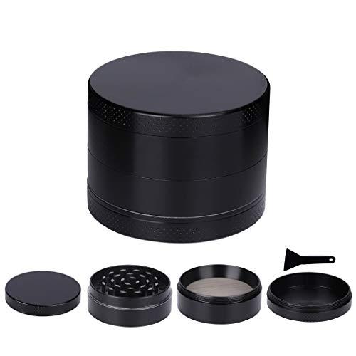 Grinder Crusher Klein Zinklegierung Tabak Gewürze Kräutermühle 4 Teilig mit Sieb Magnetischen Deckel für Tabak Spice Kräuter Schwarz