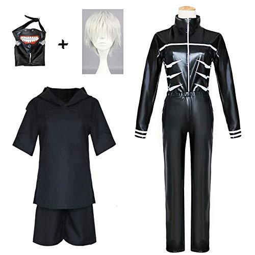 better daily life Ken Kaneki Cosplay Kostüm Anime Tokyo Ghoul Schwarze Lederjacke Hosen Kampfuniform Volles Outfit mit Perücken