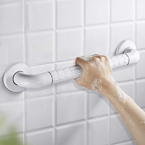 WOOHSE Maniglia di sicurezza per doccia o vasca Maniglione disabili Bagno corrimano, Lunghezza: 350mm Ø 35mm, in acciaio rivestito, colore: Bianco