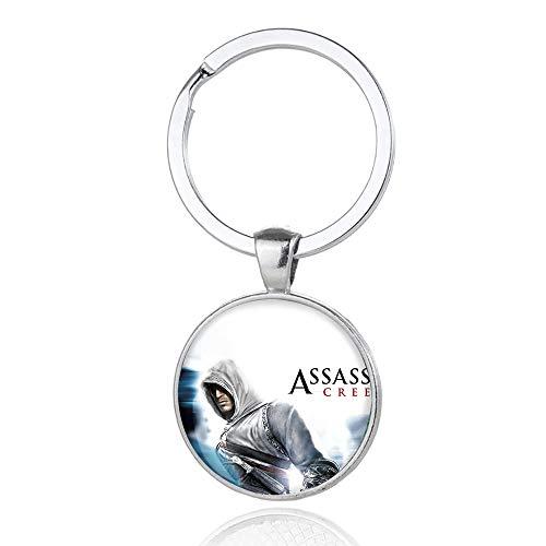 Fgfkljkrelw Assassin'S Creed Correa de Cuero Bola de Cristal del Coche Llavero señora Bag Colgantes Colgante del Encanto del Anillo dominante de Mando (Color : A03, Size : 6 X 3cm)