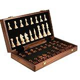shentaotao Juego de ajedrez de Tabla de Madera Plegable Plegable de Almacenamiento Interior de Juego para Adultos estimular su Cerebro 39x39cm Mente Ejercicio