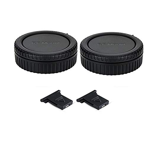 2 Pack RF Mount Body Cap Cover & Rear Lens Cap for Canon EOS R R5 R6 RP Full Frame Mirrorless Camera and RF Mount Mirrorless Lenses,with 2 Extra Hot Shoe Covers to Protector The Camera Hot Shoe