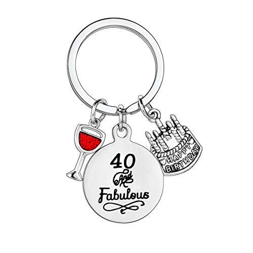 40 and Fabulous Stainless Steel Keyring with 3 Pendants