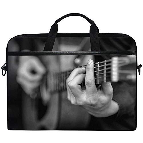 Young Man Play On The Guitarra acústica Funda para portátil Funda Protectora para computadora con Correa Ajustable 14 Pulgadas