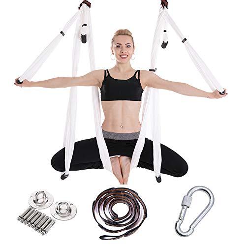 MSQL Yoga Swing Aerial Yoga Hamaca Antigravity Fitness Hamaca, con extensión Correa y Placa para Colgar, para Profesionales Principiantes y niños,White