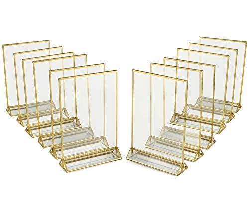 Marco de acrílico transparente de 2 caras con bordes dorados y soporte vertical (paquete de 12)   ideal para soporte de números de mesa de boda, señal de doble cara, fotos claras, soportes de menú