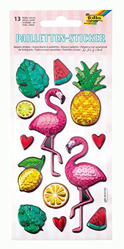 folia 19704 - Pailletten Sticker IV mit Flamingo Motiven, metallisch schimmernde Kunststoffsticker, 13 Stück, ideal geeignet zum Verzieren von Grußkarten, Bastelarbeiten und Scrapbooking