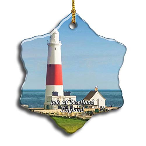 'N/A' UK England Isle of Portland Bill Lighthouse Christmas Ceramic Ornament Xmas Tree Decor Souvenirs Double Sided Snowflake Porcelain Home Gifts