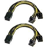 Cable adaptador de alimentación PCI Express de 6 pines a 8 pines, 2 unidades de 6 pines a doble PCIe de 8 pines (6 + 2) para tarjeta gráfica PCI Express GPU VGA